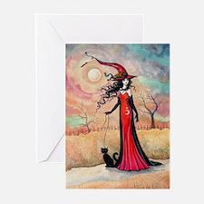 Autumn Stroll Witch Black Cat Fantasy Art Greeting