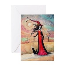 Autumn Stroll Witch Black Cat Fantasy Art Greeting