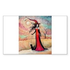 Autumn Stroll Witch Black Cat Fantasy Art Decal