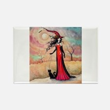 Autumn Stroll Witch Black Cat Fantasy Art Magnets