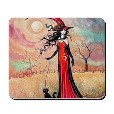 Autumn Stroll Witch Black Cat Fantasy Art Mousepad