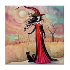 Autumn Stroll Witch Black Cat Fantasy Art Tile Coa