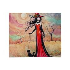 Autumn Stroll Witch Black Cat Fantasy Art Throw Bl