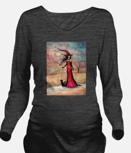 Autumn Stroll Witch Black Cat Fantasy Art Long Sle