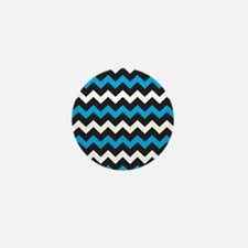 Black Blue And White Chevron Mini Button