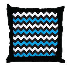Black Blue And White Chevron Throw Pillow