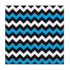 Black Blue And White Chevron Tile Coaster