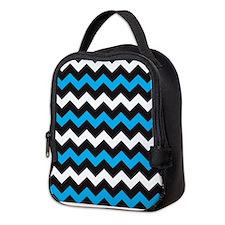 Black Blue And White Chevron Neoprene Lunch Bag