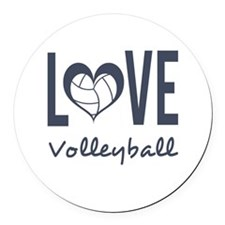 Love Volleyball Round Car Magnet