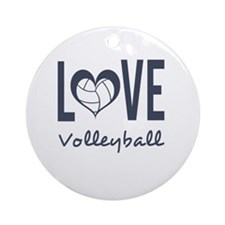 Love Volleyball Round Ornament