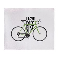 I Love My Bike Throw Blanket