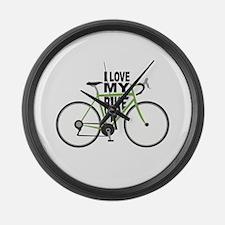 I Love My Bike Large Wall Clock