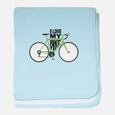 I Love My Bike baby blanket