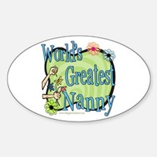 Greatest Nanny Floral Oval Decal