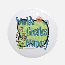 Greatest Nanny Floral Ornament (Round)