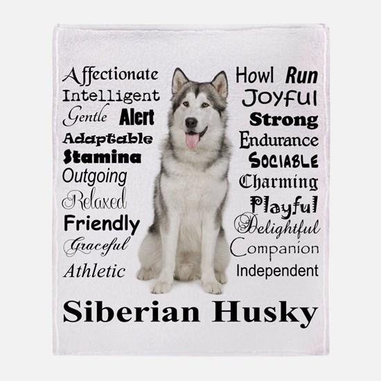 Cool Siberian husky Throw Blanket