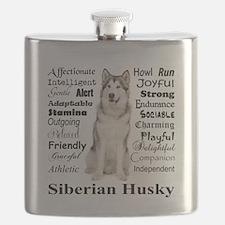Cute Siberian husky Flask