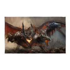 Gothic Triple-Head Dragon Area Rug