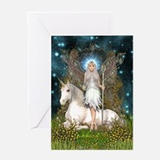 Crystal Fairy and Unicorn Greeting Card