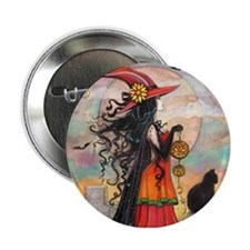 "Witch Way Halloween Witch Art 2.25"" Button"