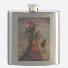 Witch Way Halloween Witch Art Flask