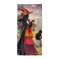 Witch Way Halloween Witch Art Beach Towel