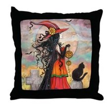 Witch Way Halloween Witch Art Throw Pillow