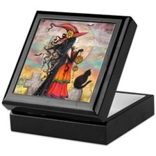 Witch Way Halloween Witch Art Keepsake Box