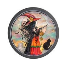 Witch Way Halloween Witch Art Wall Clock