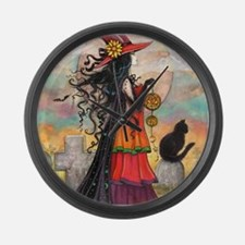 Witch Way Halloween Witch Art Large Wall Clock
