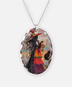 Witch Way Halloween Witch Art Necklace