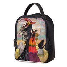 Witch Way Halloween Witch Art Neoprene Lunch Bag