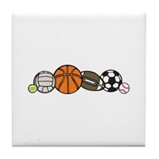 Sports Balls Border Tile Coaster