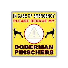 Emergency Doberman Window Sticker Plural