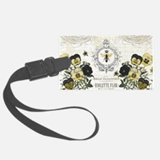 modern vintage French pansies and bee Luggage Tag