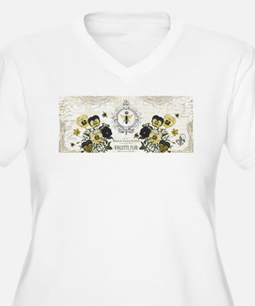 modern vintage French pansies and bee Plus Size T-