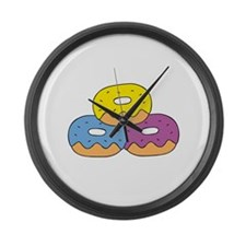 Colorful Doughnuts Large Wall Clock