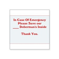 Emergency Doberman Window Sticker