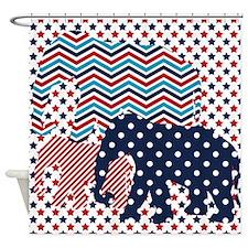 Cool Blue elephant Shower Curtain