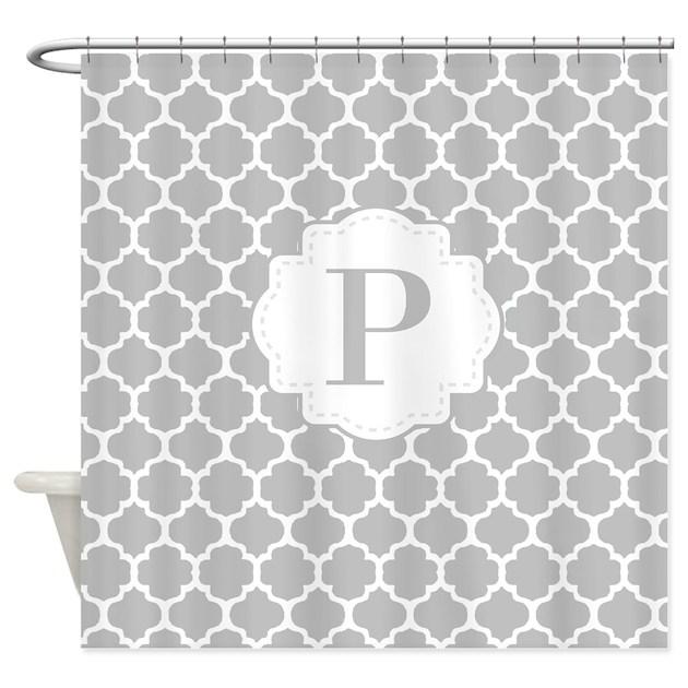 gray white quatrefoil monogram shower curtain by cupcakesandsprinklesbirthdaytees. Black Bedroom Furniture Sets. Home Design Ideas
