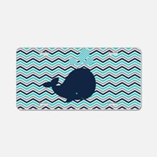 Blue Whale on Chevron Strip Aluminum License Plate