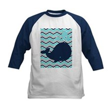 Blue Whale on Chevron Stripe Baseball Jersey