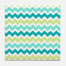 Unique Aqua teal chevron Tile Coaster