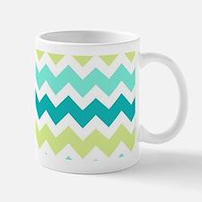 Teal Lime Green Chevron Pattern Mugs