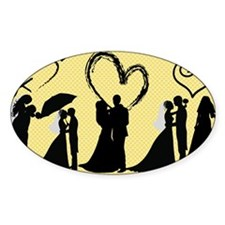 Silhouette Wedding Brides and Groom Decal