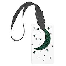 green moon stars flowers Luggage Tag