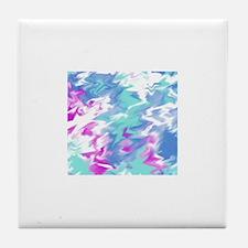 Raspberry Aqua Smear Tile Coaster