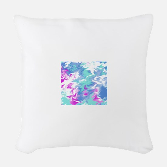 Raspberry Aqua Smear Woven Throw Pillow
