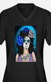 Blue Rose Muertos Pin-up Portrait Plus Size T-Shir