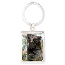 Australian Koala Mother and Baby Portrait Keychain
